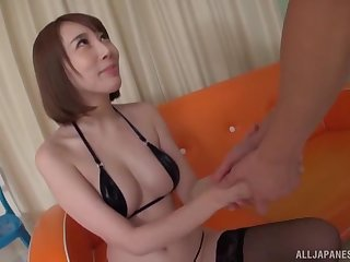 Brashness operative of cum for a Japanese babe in a MMF threesome