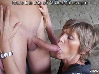 Horny old cougar tapes here her young toyboy with the addition of sucks him off