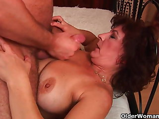 Grandma roughly big tits and hairy pussy gets facial