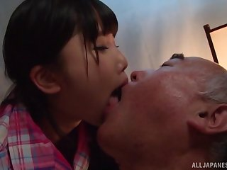 Japanese teen Miyazaki Aya seduces an older pauper together with rides him hard