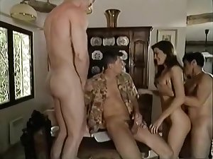 Vintage Italian Glaze - Brunette fucks three guys