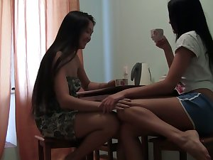 Two amateur Asian girlfriends enjoy eating each others pussies