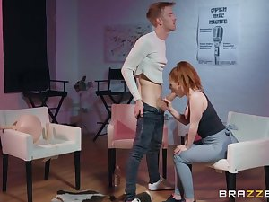 Super hot redhead takes a huge cock in torn yoga pants