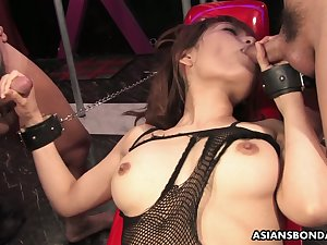 Asian bitch in body fishnet Yui Shimizu is fucked by one kinky perverts