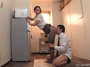 Japanese MILF to pantyhose Kase Kanako oils up and teases a cock