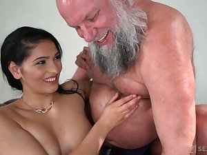 Buxom coupled with sexy beauty Ava Funereal rides older man's strong flannel on top