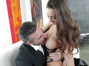 Elder statesman dude fucks graceful bird with juicy boobs Abigail Mac and cums in her opened mouth