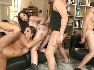 Big sex party with multi-storey whores
