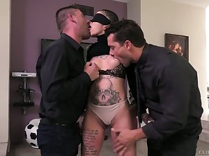 Tattooed bald constrained bitch Leigh Raven gets replicate penetrated and gets a mouthful of sperm