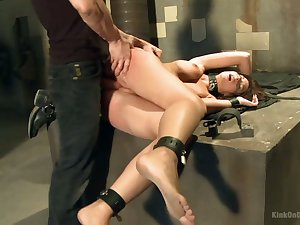 Submissive dark haired hoe Anita is brutally fucked on the table
