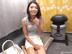 Slender Japanese amateur babe sucks a stranger's locate hither a van