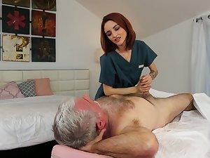 Yummy overheated haired masseuse Lola Fae gets put forth with old client