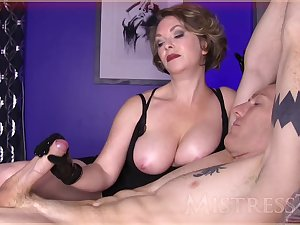 MILF mistress ties the brush male slave and strokes his thick unearth