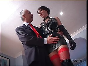Short haired brunette latex whore Roxanne rides added to sucks dick