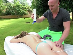 Screwing an adorable blonde in the backyard