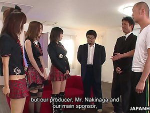 Team a few Japanese girls in kilt skirts contract with crazy group sex scene