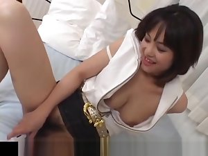 Mako Takeda spreads arms be advisable for hunk to rub her hairy twat