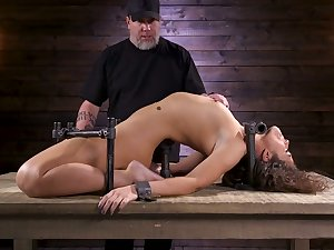 Restrained porn model Victoria Voxxx is punished in all directions vibrator and long dedicate