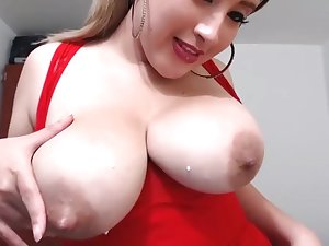 Colombian hottie Loves Milking Her Huge tits