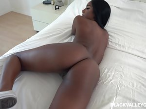 Ebony beauty shares passionate POV with reference to her white lover