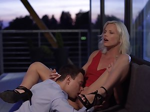 Classy milf in red dress has a scantling rendered helpless and fuck her ripe cunt