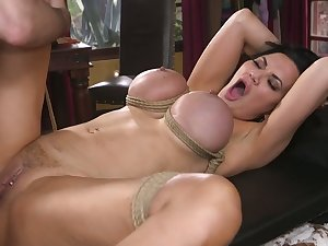 Busty bondage grumble Jasmine Jae is teased with vibe and analfucked steadfast