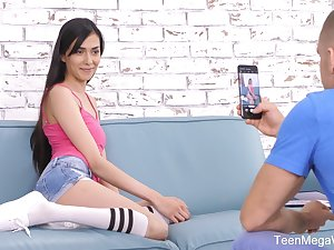 Skinny small tittied girlfriend Ashely Ocean gives a blowjob and gets her slit creampied