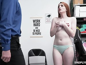 Store office-holder strips coupled with fucks shoplifter Aria Carson on pellicle