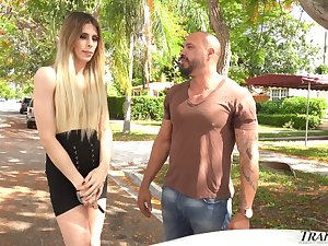 Wild effectively and big racked ladyboy Casey Kisses is brutally anal banged doggy