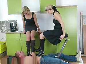 Kitchen boots trampling hard by 2 angry mistress part 1