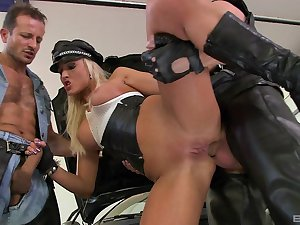 Penny-pinching milf ass fucked in group scenes and jizzed on tits