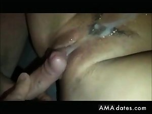 My girl taking two messy creampies by a friend