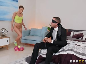 Blindfolded toff gets his cock pleasured by his GF's tempo friend