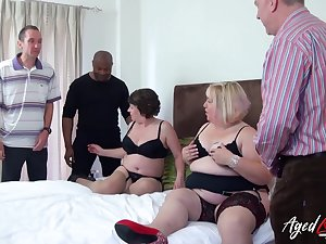Fat whore Trisha has invited chubby old tart to feign on several cocks