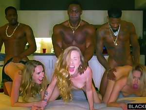 Three Auriferous Hair Girls And Three Black Guys In Interracial Group