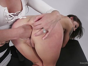 Hot girls Ariel X and Kacie Castle anal stretching with fisting