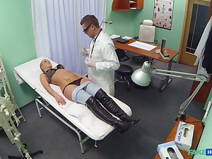 Law doctor bangs his blonde patient Licky exposed to the hospital bed