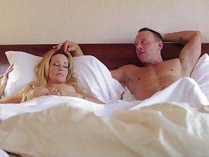 Sleeping wife Jessica Drake woken involving with pussy licking and gets facial