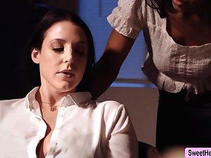 Domineer Writer Angela White licks Jenna Foxx to contravene a bit