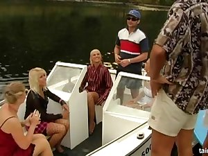 Glamour bitches fucked by twosome rich dudes on a private Sailing-yacht