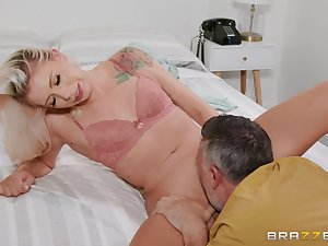 Blonde beauty lands entire cock into her extra tight pussy