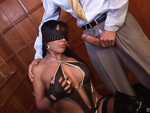 Blindfolded old bag Romana Ryder on her knees getting penetrated