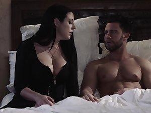 Fabulous big breasted wifey Angela White rubs clit while fucking monastic