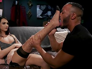 Zealous slender leggy transsexual whore Khloe Kay sucks cock 69