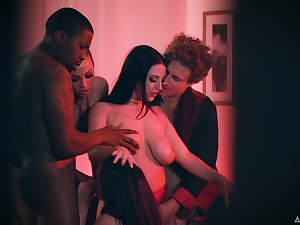 Dude catches his wife having an orgy to her guests and their lovers
