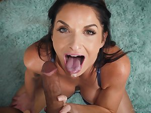 MILF sucks this dick like a goddess and makes sure just about swallow