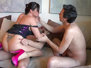 Aroused mommy fucked wide of the step son coupled with one of his friends