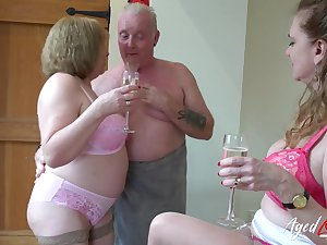 AgedLovE Two Matures and At Man in Threesome