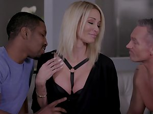 Insatiable blonde Jessica Drake gets intimate with two lovers before you can turn around