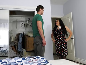 Mature lady fucks her stepson's join up while he's not at home